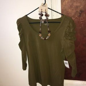 Grace Tops - Olive green blouse